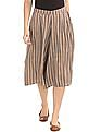 Bronz Geometric Print Pleated Culottes