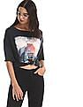 Flying Machine Women Grey Extended Shoulder Printed T-Shirt