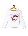 U.S. Polo Assn. Kids White Girls Ruffle Sleeve Printed Top