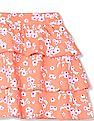 Donuts Girls Floral Print Tiered Skirt