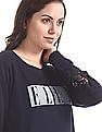 Elle Studio Blue Embellished Branding Cotton Sweatshirt
