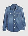 GAP Boys Denim Convertible Long Sleeve Shirt