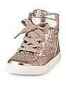 The Children's Place Girls Silver Glitter High-Top Sneakers