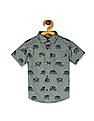 The Children's Place Baby And Toddler Boy Short Sleeve Monster Truck Print Poplin Button-Down