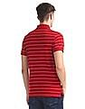 Arrow Sports Red Striped Pique Polo Shirt