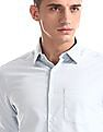 Excalibur Blue Mitered Cuff French Placket Shirt