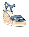 GUESS Crossover Denim Strap Wedges