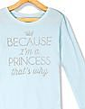 The Children's Place Toddler Girl Blue Ribbed Neck Glitter Print T-Shirt